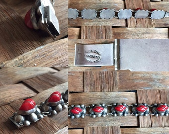 Mexican Silver Link Bracelet with Red stones Del Rio
