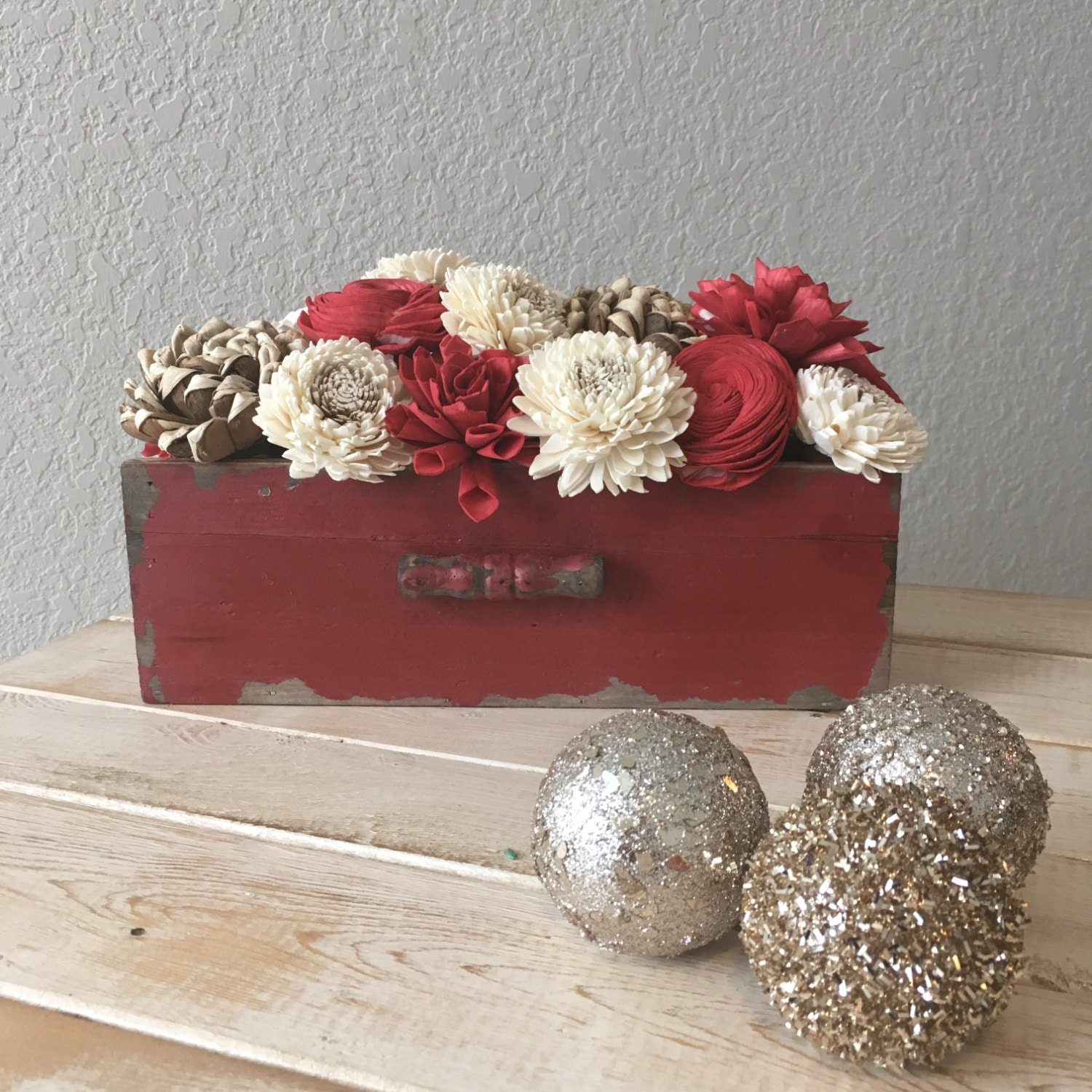 Rustic distressed red centerpiece coffee table