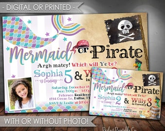 Mermaid or Pirate Invitation, Mermaid or Pirate Birthday Invitation, Mermaid Invitation, Pirate Invitation, Digital File or Printed #501