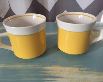 Vintage Mikasa yellow light and lively coffee cups