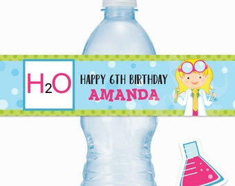Girl Scientist Party Personalized Waterproof Water Bottle Wrappers, H2O Bottle Label, Science Party Printable Water Bottle Wraps