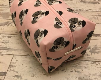 Handmade Pink Pug Toiletry Bag