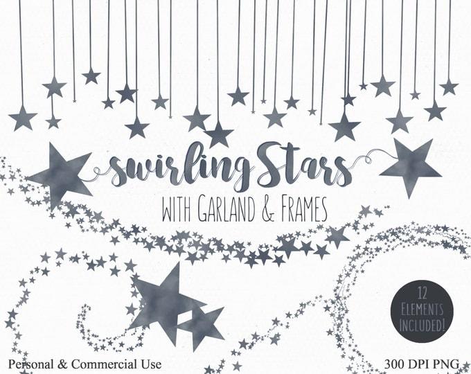 GRAY STAR Clip Art Commercial Use Clipart Dark Gray Star Graphics Digital clip art Star Images Borders Frames Sky Clip Art Party Clipart