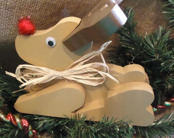 Wooden Reindeer for the mantel, Reindeer Christmas decor, reindeer