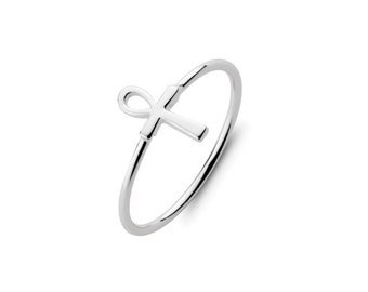 925 Sterling Silver Ankh - Ring