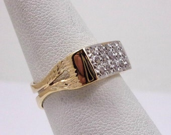 Solid 14K Yellow Gold Custom Hand Fabricated Ladies Ring Size 7, 3.7 grams