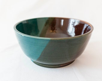 Ceramic bowl - teal, amber, brown, green