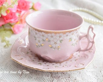 Vintage tea cup set floral porcelain Slav porcelain pink tea cup set HC tea cups rose porcelain vintage tea set vintage teacup saucer