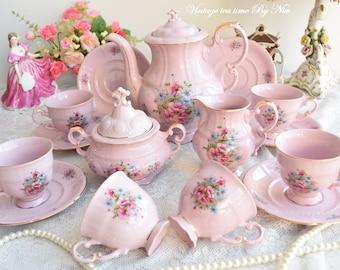 RESERVED - Teapot set vintage tea pot set porcelain tea set for six tea cup set porcelain teacup set pink porcelain teaset coffee cup teapot