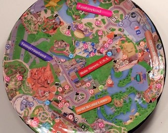 Disney Jewelry Trinket Tray Actual Park Map collage
