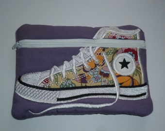 Purple Floral Embroidered High Top Shoe Purse - Pouch - Like Converse -