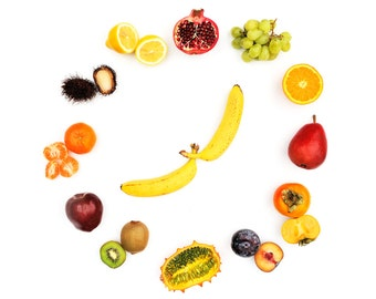Fruit Time. Number One. Kitchen Clock. Fine Art. Still Life. Wall Decoration. Photo Art.