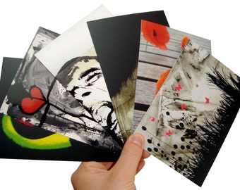 Five postcards contemporary paintings and an artistic photography of poppy - matt varnish with UV selective, format 10,5x15cm