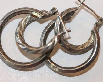 Vintage sterling silver etched & plain double hoop earrings hinged posts
