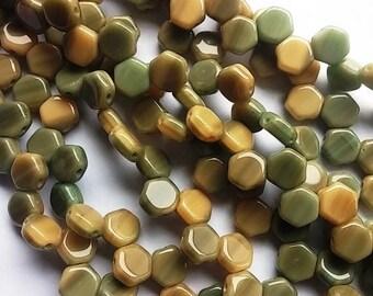 Hodge Podge Honeycomb Seafoam, Hex 2-Hole Beads Czech Glass 6mm, 699991-30 beads