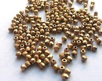 Pale Bronze Gold True 2MM Fire Polish Czech Glass, 100 beads # 01710