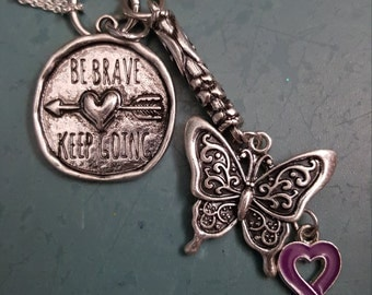 "Fibromyalgia Awareness Necklace *20% off Sale - Use ""SummerVacation17"" at checkout*"