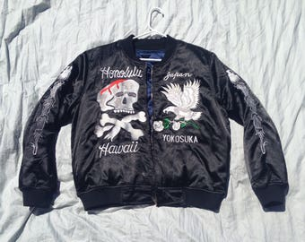 Black Sukajan Jacket Skull Satin