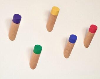 Colourful solid Beech hardwood wall peg, coat hook, towel rack, hat rack, geometric wall art