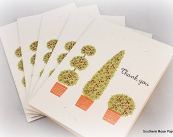 Thank You Cards Set, Note Card Set, Topiary, Tree, Cute, All Occasion, Blank Note Cards, Hand Stamped, Handmade Cards,  Thank You Notes