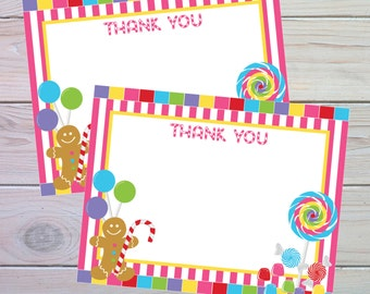 Candy Land Party | Thank You Card | Candy Land Birthday | Candyland | Sweet Shoppe | Candy Party | Instant Download | The Party Darling