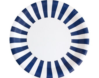 """Plates   Navy Striped Paper Plates 9""""   Navy and White Striped Plates   Premium Quality Paper Plates   Party Supplies   The Party Darling"""