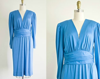 1960s Emilio Pucci dress . vintage desiger blue silk jersey dress . 40s style knit day dress  . medium