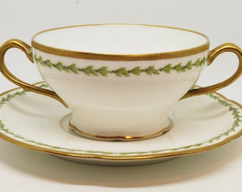 Antique Limoges Theodore Haviland Hand Painted Cup 2pc France