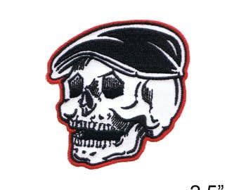 """KRUSE'S Skully with Cap Iron On Patch 2.5"""" by Fuzzy Dude 4775 Free Shipping"""