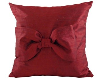 Red SILK Throw Pillow with Bow for Couch or Bedroom 16 x 16, 18 x 18, 20 x 20