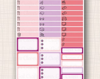 Half Box and Icon Planner Stickers | Haute to Trot Half Boxes and Tidbits | 37 Stickers Total | #SP1903