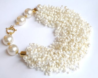 Big white seed bead necklace – white pearl necklace – airy multi strand seed pearl necklace