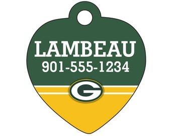 Green Bay Packers Pet Id Tag for Dogs and Cats Personalized w/ Your Pet's Name & Number