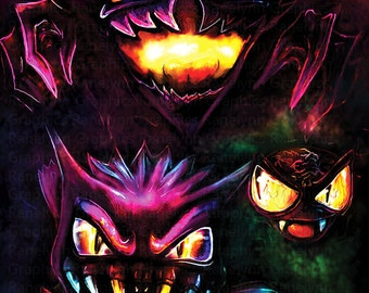 Ghosts Gastly Haunter Gengar Glossy Poster Print - Free USA Shipping