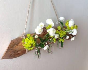 Wall mounted bud vase, Hanging branch bud vases, Natural weathered branch, Bud vase holder.