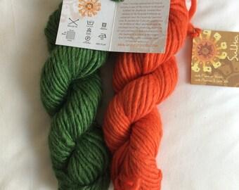 Mirasol Sulka Fair Trade yarn - green and carrot