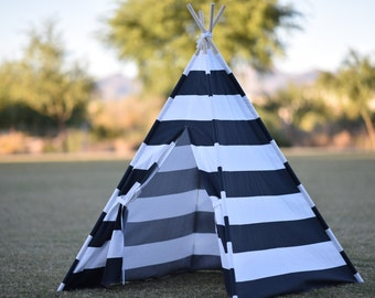 Stripe Canvas Plain Kids Teepee, Kids Play Tent, Childrens Play House, Tipi,Kids Room Decor