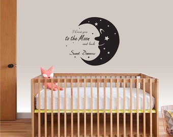 Nursery Wall Decal I Love You to the Moon and Back- Moon Stars Wall Decal- Wall Decal Kids- Children Wall Decal- Wall Decals Nursery Art