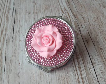 Compact mirror, pink pocket mirror, pink mirror, circle mirror, gifts for her, birthday gift, anniversary gift, christmas gift