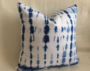 Shibori Designer Pillow Cover - Indigo/ White - Fully Lined - Tie Dye - 18x18 Cover