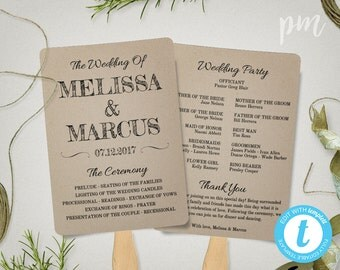 Rustic Wedding Program Fan Template, Fan Wedding Program Template, Instant Download, Ceremony Program, Rustic Design