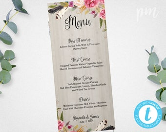 dinner menu templates free download