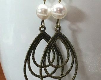 Pearl and antique brass layered teardrop earrings