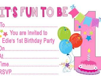 Personalised Girls It's Fun To Be 1, 2, 3, 4, 5, 6, 7, 8, 9 Birthday Party Invitations x 10 with envelopes
