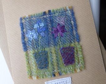 friendship card, tweed card, textile greeting card, handmade card, embroidered card,  flowerpot card, stitched card, textile art card