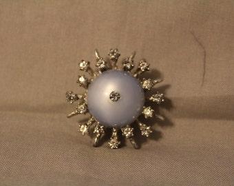Vintage Blue Moonstone and Rhinestone brooch