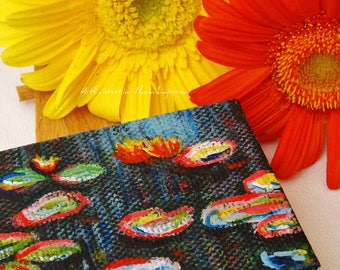 Mini easel canvases Monet water lilies, original, hand-painted acrylic on canvas 5 x 7 cm