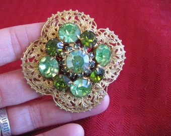 Gorgeous Green Rhinestone Brooch