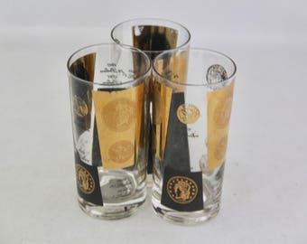 SALE! Vintage Cera 22k Black & Gold Coin Barware Glasses/Set of 3/Midcentury Glasses