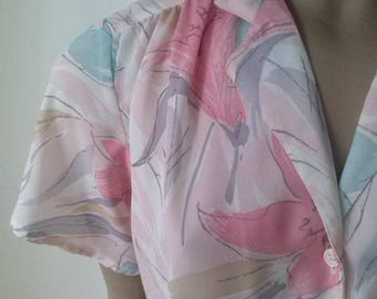80's sheer s/s floral blouse size 10